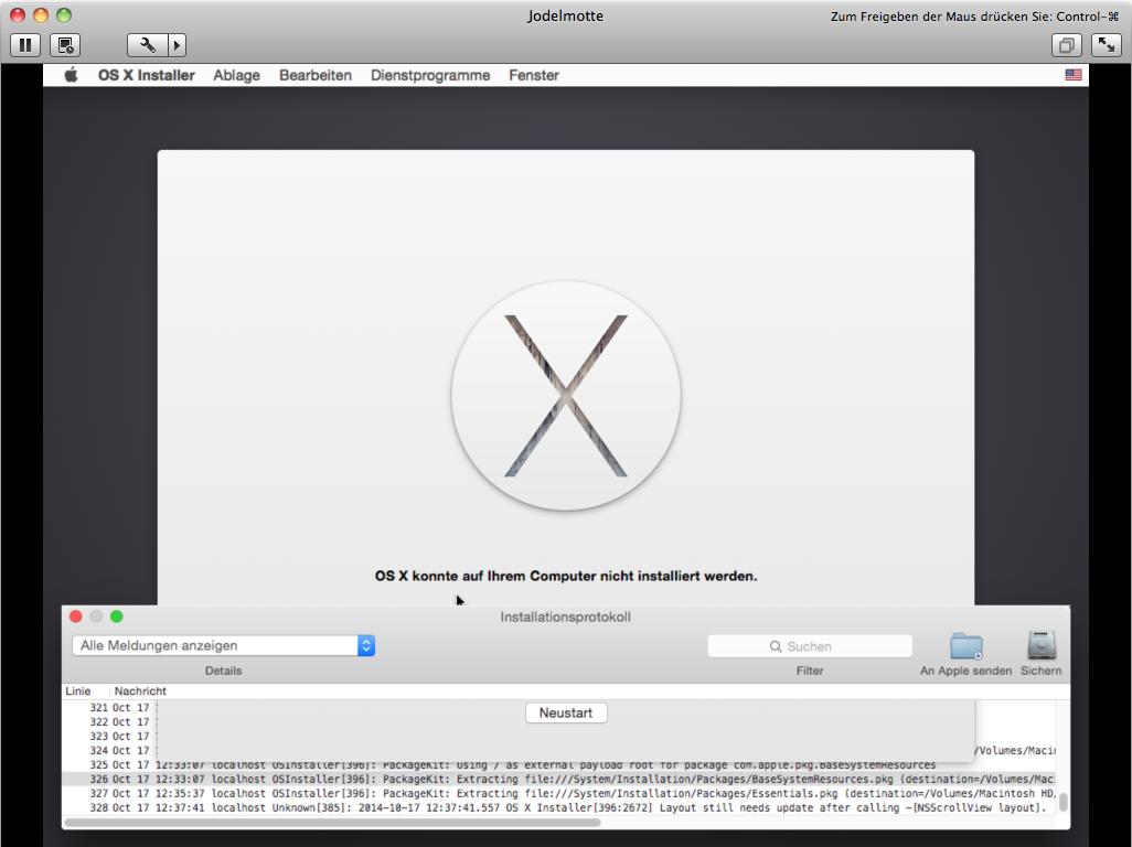 VMware mag Yosemite auch nicht